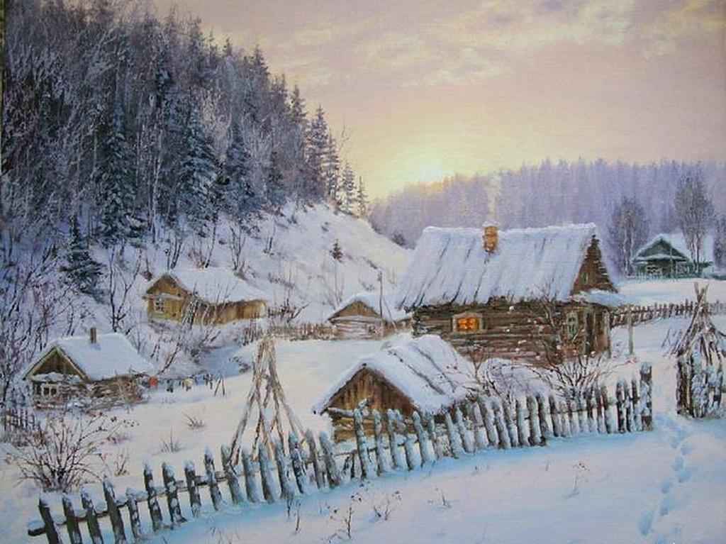 Открытки зима в деревне